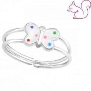 Dupla karikás fehér lepkés gyűrű