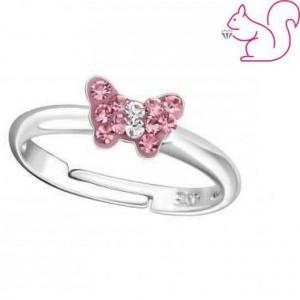 Állítható gyerek gyűrű, ezüst, rózsaszín kövekkel, lepkés