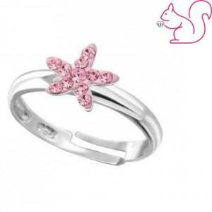 Virágos gyerek gyűrű, ezüst