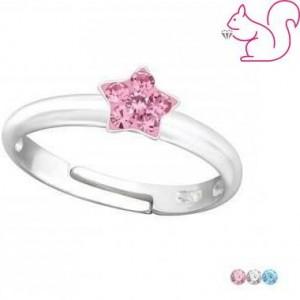 Csillag virágos köves gyerek gyűrű, ezüst