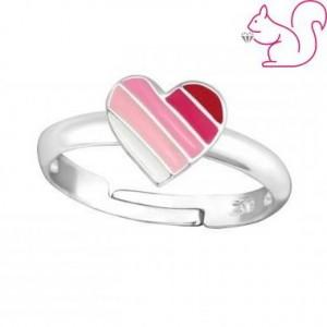 Pink szíves gyerek gyűrű