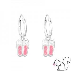 Pink csillámos balerina cipő ezüst karika fülbevaló