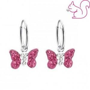 Pink köves, lepkés karika fülbevaló