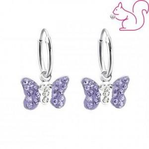 Pillangós lila köves fülbevaló, karika