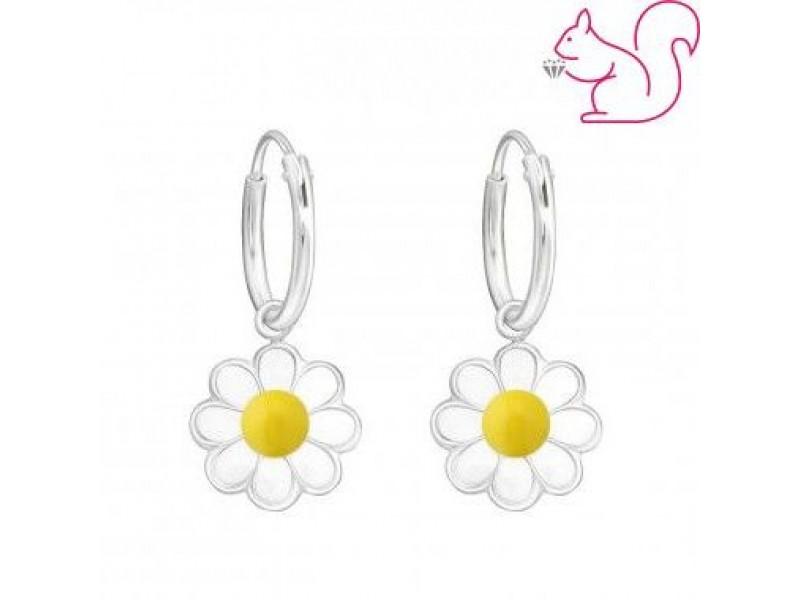 Margaréta virágos karika fülbevaló, fehér