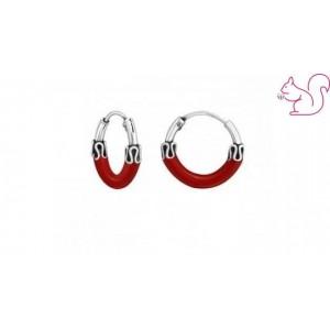 Piros karika ezüst fülbevaló