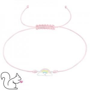Állítható rózsaszín zsinóros ezüst szivárvány medálos karkötő