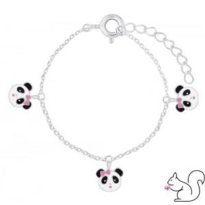 Panda fejes ezüst karkötő