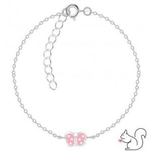 Rózsaszín fehér pöttyös pillangós ezüst karkötő