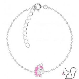 Unikornis pink kristályos ezüst karkötő
