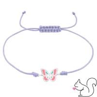 Állítható lila zsinóros ezüst lepkés karkötő