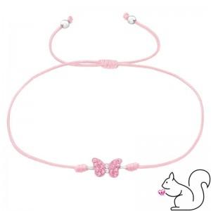 Állítható rózsaszín zsinóros ezüst pillangó medálos karkötő
