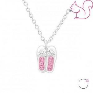 Kristály balerina cipős nyaklánc, köves