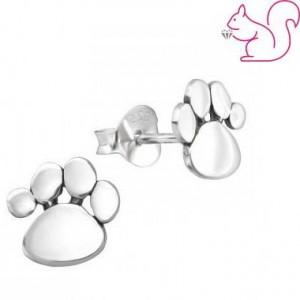 Kutya lábnyom fülbevaló, ezüst