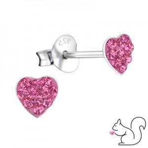 Swarowski pink kristályos szív stift fülbevaló