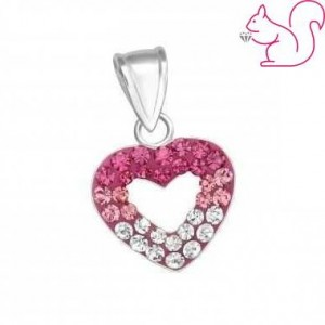 Pink fehér köves szíves medál