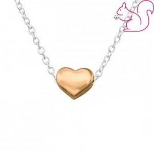 Rózsaarany szív ezüstnykalánc