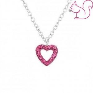 Rózsaszín vagy pink köves szív ezüstnyaklánc