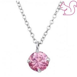 Pink kő nyakék, gyerek ezüst nyaklánc