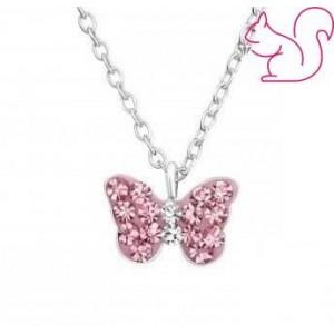 Gyerek ezüst nyaklánc, pink köves lepke medállal