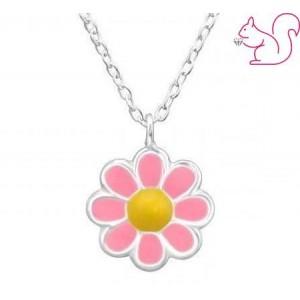 Pink virágos ezüst nyaklánc, gyerek ékszer