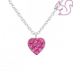 Rózsaszín vagy pink köves, szíves nyaklánc