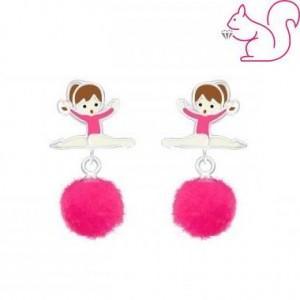 Pomponos balerina fülbevaló