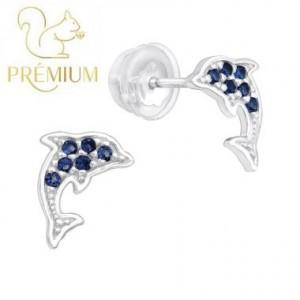 Delfin, kék köves ezüst fülbevaló / Prémium