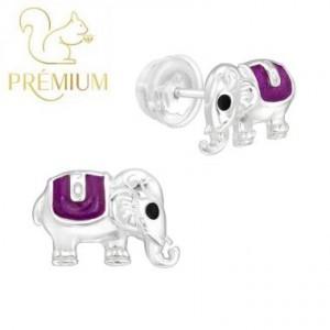 Elefántos, lila ezüst fülbevaló / Prémium
