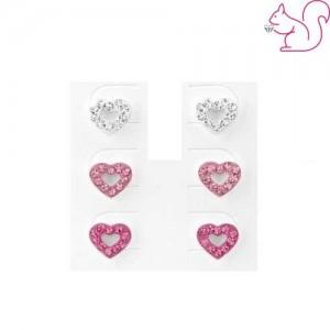 pink köves szíves fülbevaló készlet
