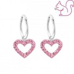 Szíves pink köves ezüst fülbevaló, karika