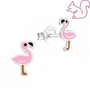 Flamingó fülbevaló, ezüst