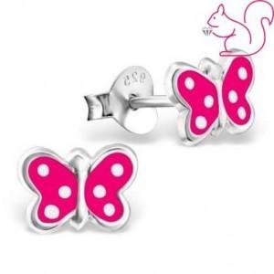 Lepkés beszúrós pink fülbevaló