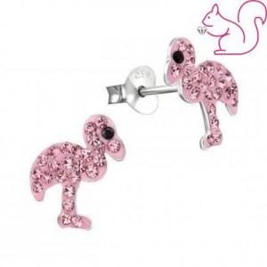 Flamingó fülbevaló, köves